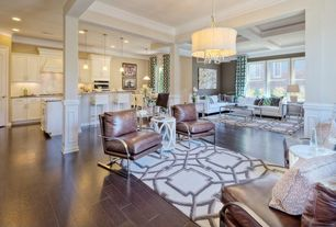 Traditional Living Room with Crown molding, Columns, Standard height, Pendant light, Hardwood floors, Wainscotting