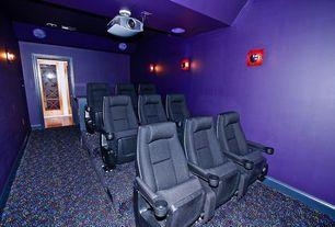 Modern Home Theater with High ceiling, Wall sconce, can lights, Carpet