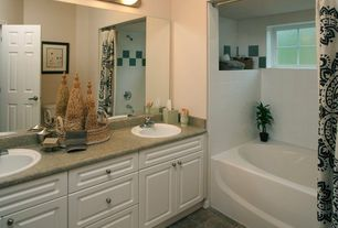 Traditional Master Bathroom with drop in bathtub, Standard height, Master bathroom, shower bath combo, drop-in sink, Shower