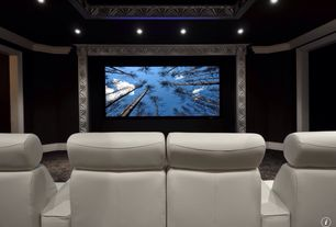 Traditional Home Theater with Home theater lounger, Box ceiling, Bass monaco home theater lounger, Crown molding, Carpet