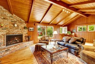 Rustic Living Room with flush light, picture window, Fireplace, Exposed beam, Dutch door, Standard height, Hardwood floors