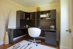 Contemporary Home Office with Standard height, Carpet, six panel door, Laminate floors