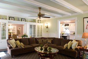 "Traditional Living Room with Ceiling fan, Casablanca Fan 54"" 19th Century 4 Blade Ceiling Fan, Hardwood floors, Carpet, Paint"