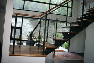 Contemporary Staircase with High ceiling, Carpet, Hardwood floors, French doors