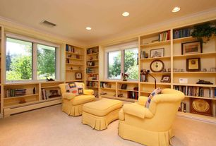 Traditional Library with can lights, Park manor teva swivel chair - moonstone, Paint 1, Crown molding, Carpet, Casement