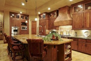 """Traditional Kitchen with Vinyl floors, Glass panel, 54"""" tuscan series copper wall-mount range hood, Raised panel, L-shaped"""