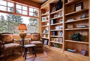 Craftsman Library with Hardwood floors, Neoclassical armchairs, Standard height, Maple solid real hardwood flooring