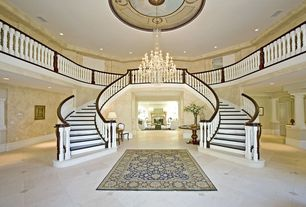 Traditional Staircase with Chandelier, High ceiling, Columns, terracotta tile floors, Loft, can lights, Double staircase