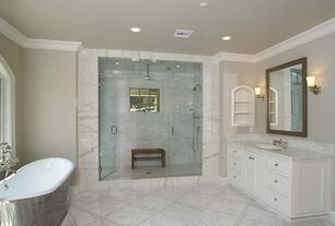 Contemporary Full Bathroom with Complex marble counters, Complex Marble, Freestanding, Undermount sink, frameless showerdoor