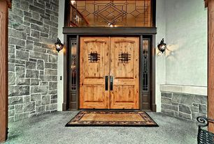 Craftsman Front Door with Transom window, exterior stone floors, French doors, Grand entry
