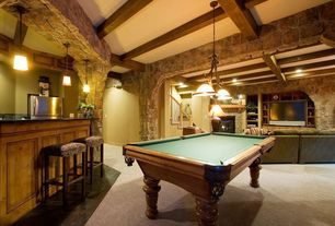 Craftsman Game Room with Thomas lighting prestige 3 light chandelier, Exposed beam, Pendant light, High ceiling