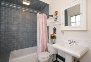Cottage Full Bathroom with Chair rail, shower bath combo, Casement, Pink shower curtain with white polka dots, Shower curtain