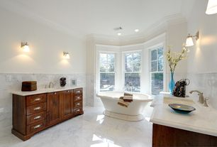 Traditional Master Bathroom with Simple marble counters, Chair rail, Raised panel, Undermount sink, double-hung window, Onyx