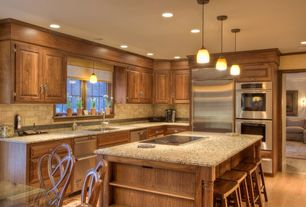 Rustic Kitchen with Complex granite counters, Ms international autumn beige granite, Stone Tile, Pendant light, L-shaped