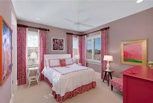 Traditional Guest Bedroom with Carpet, Standard height, Casement, Ceiling fan, can lights