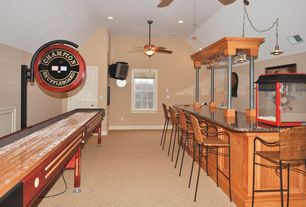 Eclectic Bar with six panel door, double-hung window, Cathedral ceiling, can lights, Carpet, Ceiling fan, Pendant light