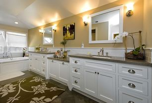 Modern Master Bathroom with Carpet, Flat panel cabinets, Caesertone Classico Collection - Ginger, Wall sconce, Inset cabinets