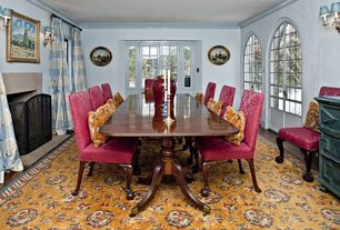 Traditional Dining Room with Cement fireplace, Glass panel door, metal fireplace, French doors, Hardwood floors, Wall sconce