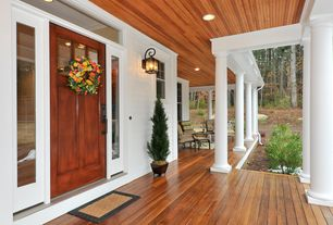Traditional Front of Home with Doorlite, Glass panel door, Lumber deck, Round column plain non-tapered, Wood ceiling planks