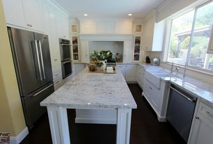 Contemporary Kitchen with U-shaped, Farmhouse sink, Ms international cold spring granite, Flat panel cabinets, Kitchen island