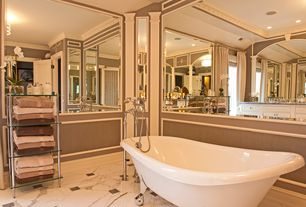 Traditional Master Bathroom with Crown molding, Soapstone counters, specialty door, Inset cabinets, Clawfoot, flush light