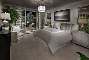 Traditional Master Bedroom with Crown molding, Pendant light, Lexford chest, Dresser with nailhead design, French doors