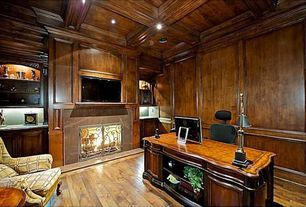 Craftsman Home Office with stone fireplace, Fireplace, Standard height, Box ceiling, Wainscotting, can lights, Crown molding