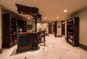 Traditional Bar with Built-in bookshelf, AHB Verona Bar Stool, Monticello Home Bar with Optional Hutch - Distressed Walnut