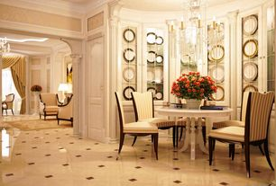 Traditional Dining Room with Crown molding, Chandelier, simple marble floors, Built-in bookshelf, interior wallpaper