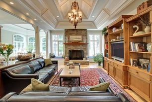 Traditional Living Room with High ceiling, Chandelier, Fireplace, Casement, can lights, Box ceiling, Columns, Window seat