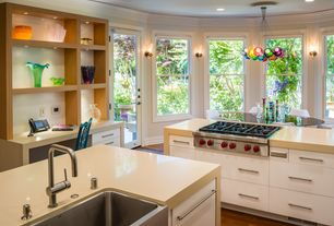 Contemporary Kitchen with Flush, Wolf Gas Stovetop, European Cabinets, Hardwood floors, Wall sconce, Kitchen island, Colorful