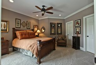 Craftsman Guest Bedroom with Paint 1, can lights, Paint 2, Allegany Pattern Fabric Accent Chair - Lunar Cinnamon, Carpet