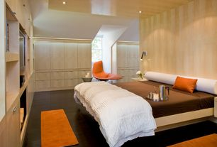Contemporary Master Bedroom with Wood paneling, Knoll bertoia asymmetric upholstered chaise, Laminate floors