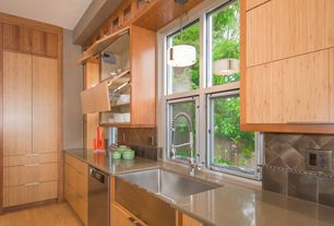 Contemporary Kitchen with Flush, dishwasher, Stone Tile, Glass panel, Farmhouse sink, Standard height, Slate Tile, L-shaped
