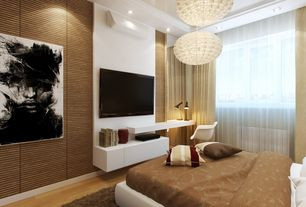 Contemporary Master Bedroom with can lights, Standard height, Crown molding, interior wallpaper, Hardwood floors