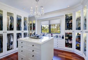 Traditional Closet with Crown molding, Chandelier, Envogue 6 light mini chandelier in wet white, Hardwood floors