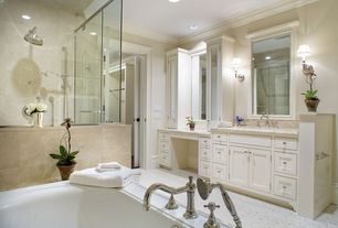 Traditional Master Bathroom with Inset cabinets, can lights, drop in bathtub, Wall sconce, Crown molding, Paint 1, Shower