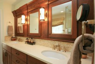 Craftsman Master Bathroom with Framed Partial Panel, European Cabinets, three quarter bath, Shower, can lights, Flush