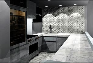 Contemporary Kitchen with Stone Tile, Cabot Marble Mosaic - Carrara Marble Series Arabescato Cararra Subway, U-shaped, Flush