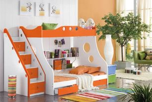 Contemporary Kids Bedroom with Paint, High ceiling, Built-in bookshelf, picture window, Concrete floors