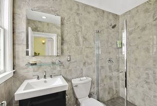 Traditional 3/4 Bathroom with specialty door, frameless showerdoor, Picasso marbo, Wall sconce, Undermount sink