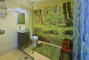 Tropical Full Bathroom with Bathroom vanity, frameless showerdoor, interior wallpaper, Ceramic tile floor, Quartz counters