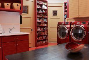 Country Pantry with specialty door, Built-in bookshelf, Door paint, interior brick, Undermount sink, Cabinet finish 2, Carpet