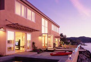 Modern Patio with Trellis, exterior awning, exterior tile floors, Pathway