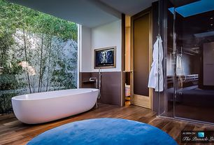 Asian Master Bathroom with Handheld showerhead, Reclamation plank prairie acacia handscraped solid hardwood, Master bathroom