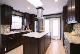 Contemporary Kitchen with full backsplash, Stainless undermount 2-basin sink, electric cooktop, Ceramic Tile, dishwasher