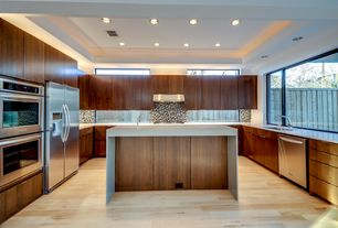 Contemporary Kitchen with Ceramic Tile, Undermount sink, Flush, Corian counters, European Cabinets, Kitchen island, U-shaped
