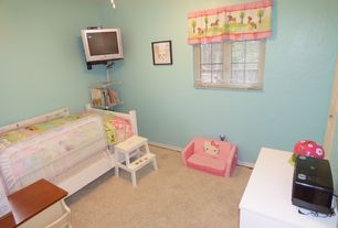 Contemporary Kids Bedroom with Carpet, Ceiling fan