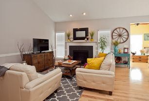 traditional living room with chair rail hardwood floors