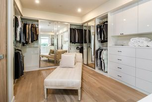 Contemporary Closet with Hardwood floors, French doors, Built-in bookshelf